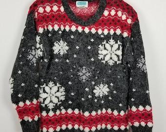 Partners Mervyns Vintage snowflakes geometric 100% acrylic sweater size S