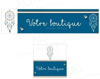 Model unique banner + avatar Etsy Shop * blue dreamcatcher *, cover image, Etsy banner, shop, Etsy shop cover banner