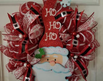 Deco Mesh Santa Wreath that will bring joy to everyone that sees it.