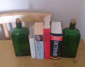 refurbished bottles as bookends with led lights