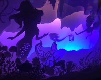 "10"" x 13"" Deep Secrets Mermaid Paper Cut Light Box"