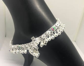Indian Style Silver PAJEB / PAYAL / Anklet Pair with Meena & Bells -Traditional  #3
