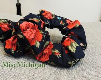 Navy Scrunchie, Floral Hair Scrunchie, Scrunchies, Pony Tail Tie, Hair Accessory, Pony Tail Holder