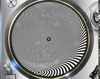 Optical Illusion 12 inch  Slipmat Turntable Vinyl decor Record collection DJ audiophile 16 ounce Slipmat x1