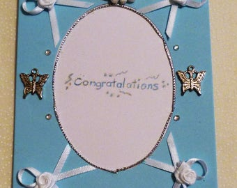 """Blue Congratulations Greeting Card, Note Cards, 4""""x5.5"""", Handmade in the USA, #45"""