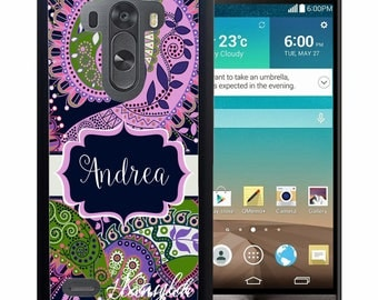 Personalized Rubber Case For LG  3, 4, 5, 6 - Purple Green Paisley