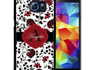 Personalized Rubber Case For Samsung S5, S6, S6 edge, S6 Edge Plus, S7, S7 Edge,  8, 8 plus -  Elegant Red Flowers