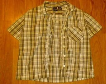 Erika - Plaid Buttom Up Shirt - Size Petite