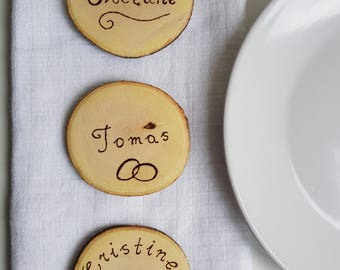 Rustic wedding favours,wedding favours,rustic engraved name places,rustic table decor, table decor,guest wedding favours