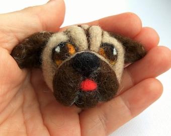 Dog Brooch pin Handmade needle felt dog Brooch pin felted pet Animal Puppy Brooch pin lovers gift miniature round brooch pin Felt Jewelry