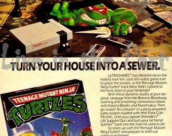 Teenage Muntant Ninja Turtles vintage NES ad poster print