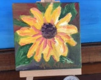 Sunflower Bursting Forth Mini Oil Painting on Canvas with Wooden Easel