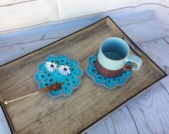 Coaster Crochet Set 2 Coasters Tea Drink Home Kitchen Decor Vintage Handmade Gift