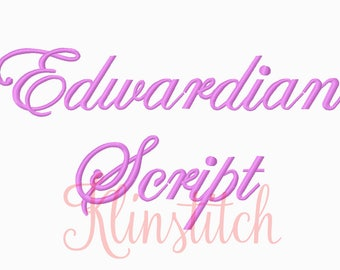 50% Sale!! Edwardian Script Embroidery Fonts 3 Sizes Fonts BX Fonts Embroidery Designs PES Fonts Alphabets - Instant Download