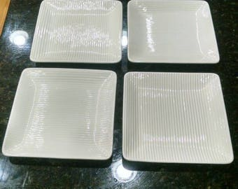 Erphila Germany art deco white square salad plates with flaws