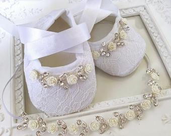 Baby Girl White Christening Baptism Shoes White Flowers Rhinestones Headband Set