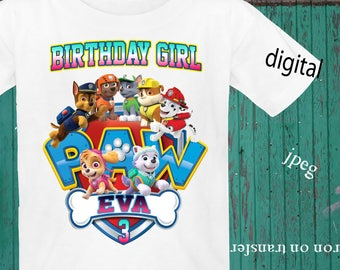 PERSONALIZE, PAW PATROL, Birthday Shirt Iron On Transfer, Paw Patrol Iron On Transfer, Paw Patrol Image Transfer, Digital File Only, Jpeg