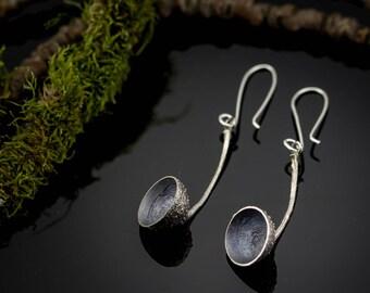 Unique earrings - Nature earrings - Rustic earrings - Acorn caps earrings - Oxidized sterling silver earrings
