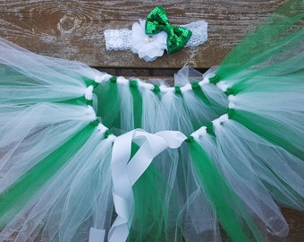 Baby Headband and Tutu set, green and white,