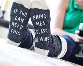 If You Can Read This Bring Me a Glass of Wine Socks Women's Wine Lover Socks!  Great for Valentine's Day Wine Gift Women's Men's Unisex
