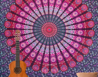 Boho Queen Size Mandala Tapestry - Pink Peacock