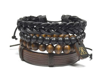4 Pack Brown and Black Bracelet Set