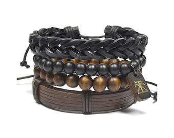 4 Pack Brown and Black Bracelet Set