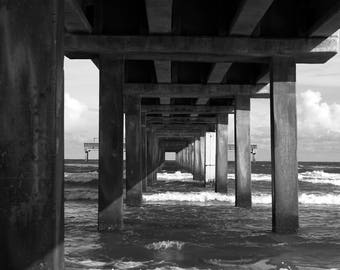 Black and White Photography of Port Aransas Pier, Texas Print, Beach, Ocean, Waves, Wall Hangings, Fine Art Prints, Art Print, Home & Living
