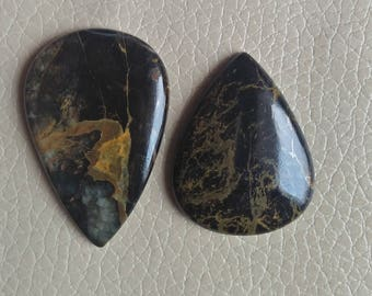 Beautiful Black Pilbara Jasper Gemstone Size 42x28x6, 36x28x6 MM Approx, Weight 62 Carat Teardrop Shape Gemstones, Wholesale Jasper.