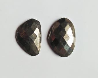 Pyrite Cutting Gemstones, 2 Piece Pyrite Cut Gemstone Fancy Shape Best Quality Craft Supplies Mirror Polished Gemstone For Making Jewellery.