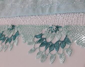 Turkish Oya Towel, Turkish Lace Towel, Decorative Towel, Soft Fancy Towel, Victorian Style Towel, French Decor, Mint Color Towel.