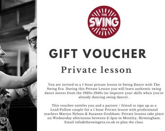 The Swing Era Gift Voucher Private Lesson | Lindy Hop | Swing Dance | Private tuition | Swing Dance Gift | Moseley, Birmingham