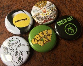 "GREEN DAY fan inspired 1"" Button/Badge Set"