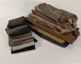 Shade of Brown Wool Scraps Vintage Collection for Craft Supply