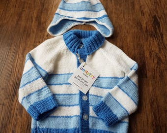 Blue Striped jacket with hat