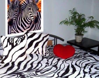 Top offer! 3 piece set, 1 bedspread 200 x 160 + 2 pillowcases 40 x 40 zebra