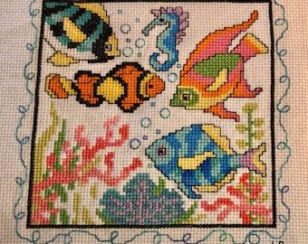 Tropical Fish Cross Stitch, finished