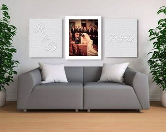 Photo Wall Display Set Of 3 Wedding Vows Canvas Mr And Mrs First