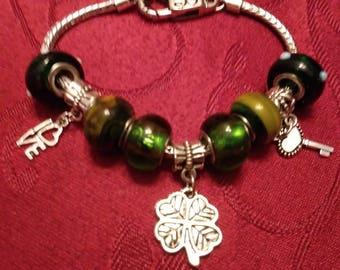 Love, Shamrock (4 leaf clover) and Key, Irish or St. Patrick's Day Theme Murano Bead Charm Bracelet