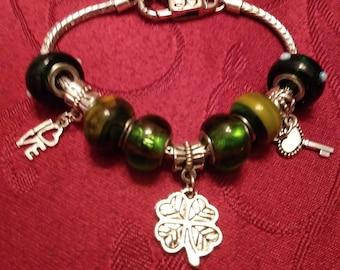 Love, Shamrock (4 leaf clover) and Key, Irish or St. Patrick's Day Theme Murano Bead Charm Bracelet