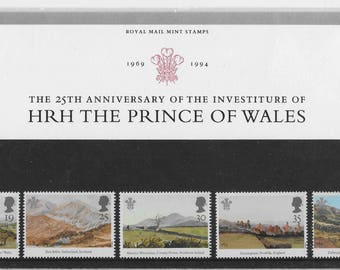 Vintage postage stamps, 1997, HRH The Prince of Wales, stamps presentation pack, Royal Mail, mint stamps