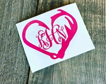 Fish Hook Heart with Monogram vinyl decal sticker for laptop, YETI cup, tumbler, car, mug, and more!
