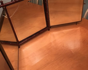 Antique 1887 Tri-Fold Bamboo Mirror