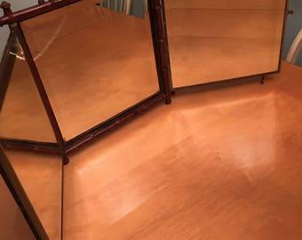 Antique 1887 Tri-Fold Bamboo Mirror