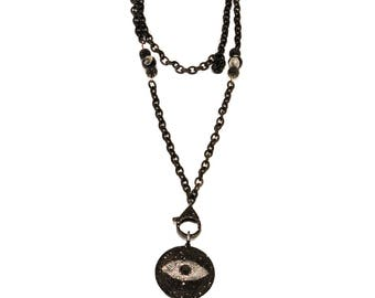 Women's Handmade Evil Eye Black and Silver Crystal Necklace Black Chain Steel Pendant- Necklace for Women