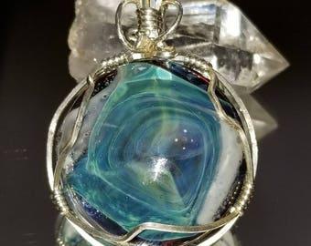 Pendant Handmade glass cabachon .925 Sterling Silver