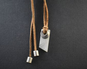 Necklace- geometric white Italian marble