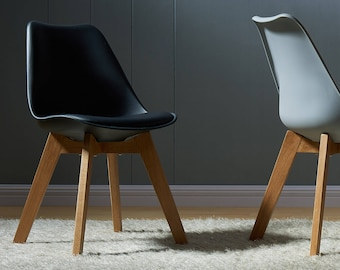 Novita Dining Room Chair - Dining Table = Black Vegan Leather Chair