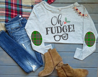 Oh Fudge Elbow Patch Tee, Christmas Elbow Patch Shirt, Women's Christmas Shirt, Women's Long Sleeve Shirt, Holiday Shirt, Funny Shirt