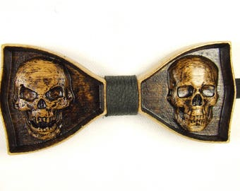 Skull Bow tie wood Bow tie for men Wooden bow tie Unique Bow Tie Wooden gift Bow tie Wood tie